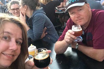 Enjoying the beer at Warpigs