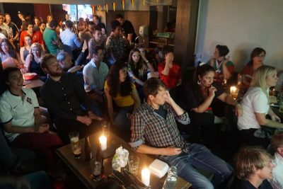 A big crowd at 1420 watching football – Photo by the owner Dennis Vansant