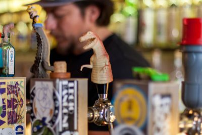 The dinosaur tap with pilsner is the star at Stavio