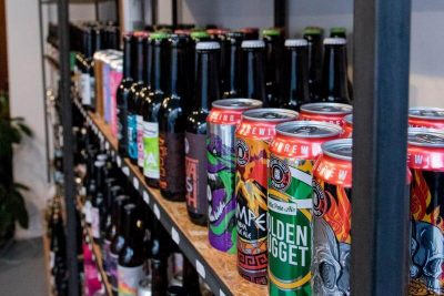 The shelves of beer at Dorst Craft Beer Shop