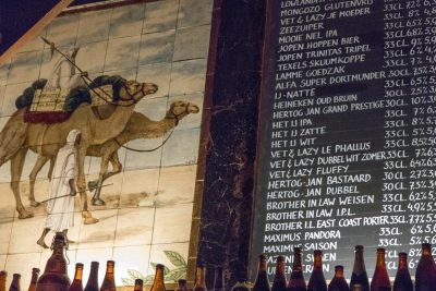 Camels and beer on the wall at Bierlokaal Locus Publicus in Rotterdam