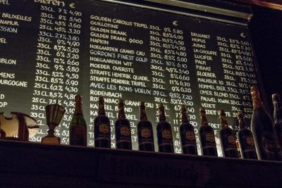 Part of the beer list on the wall at Bierlokaal Locus Publicus in Rotterdam