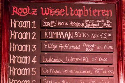 The tap menu at Rootz