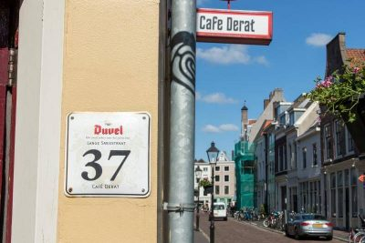 The actual address at the entrance of Café DeRat