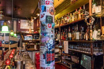 A look at the bottles behind the bar at Proeflokaal De Riddert