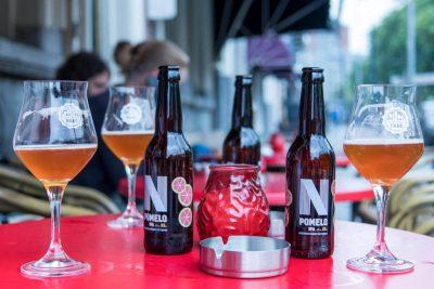 Bottles and glasses outside at Proeflokaal De Riddert