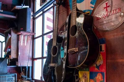 Guitars on the wall at Proeflokaal De Riddert