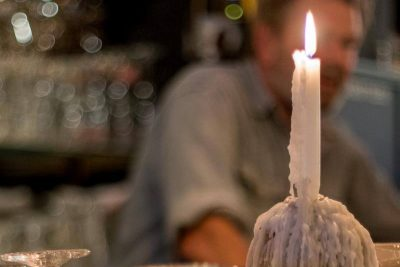 A little candle for atmosphere at Bierspeciaal Café De Paas