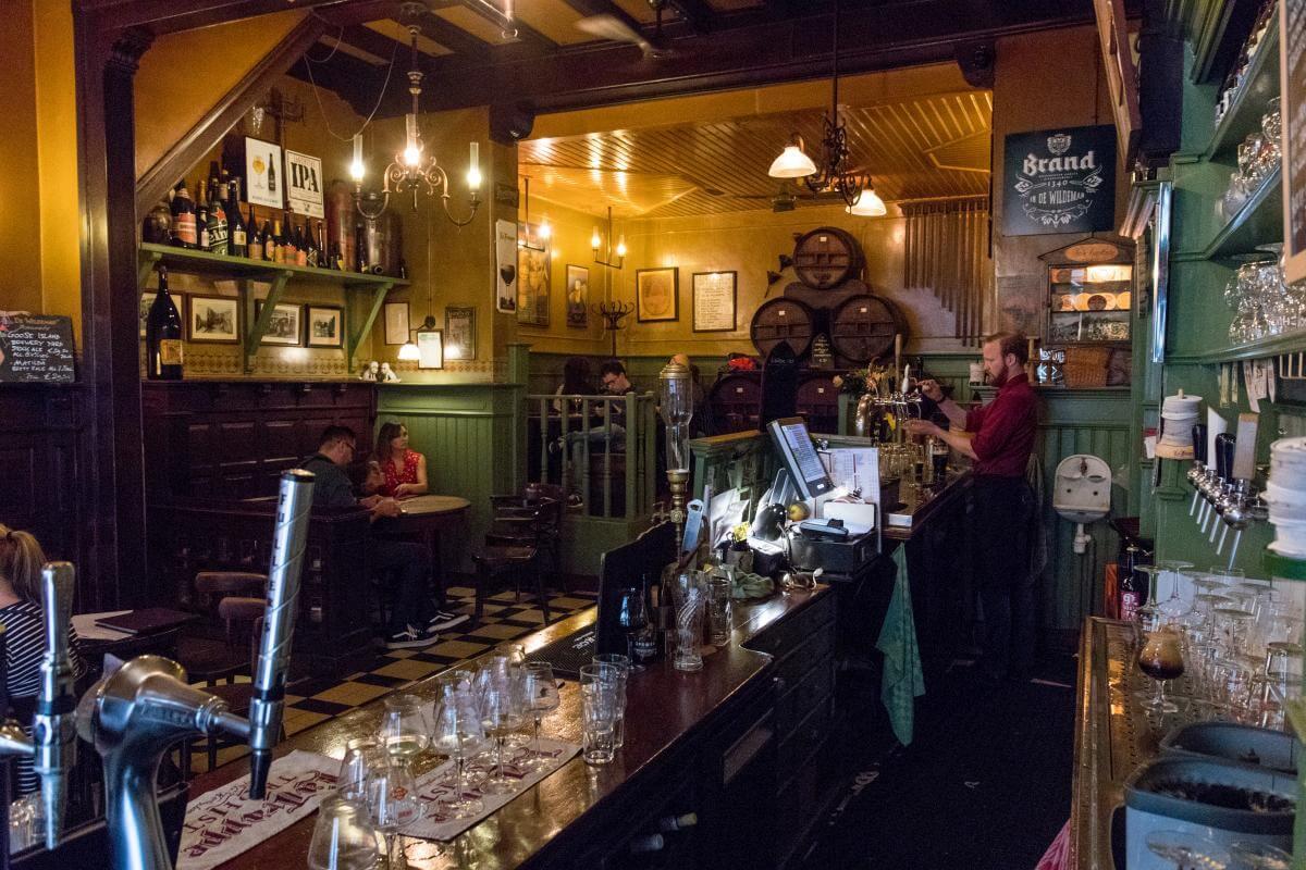 Behind the bar at Bierproeflokaal In de Wildeman
