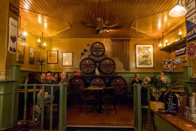 Seats and barrels at Bierproeflokaal In de Wildeman