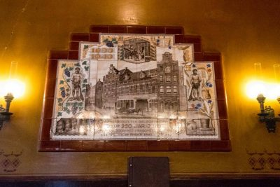 The mosaic on the wall at Bierproeflokaal In de Wildeman